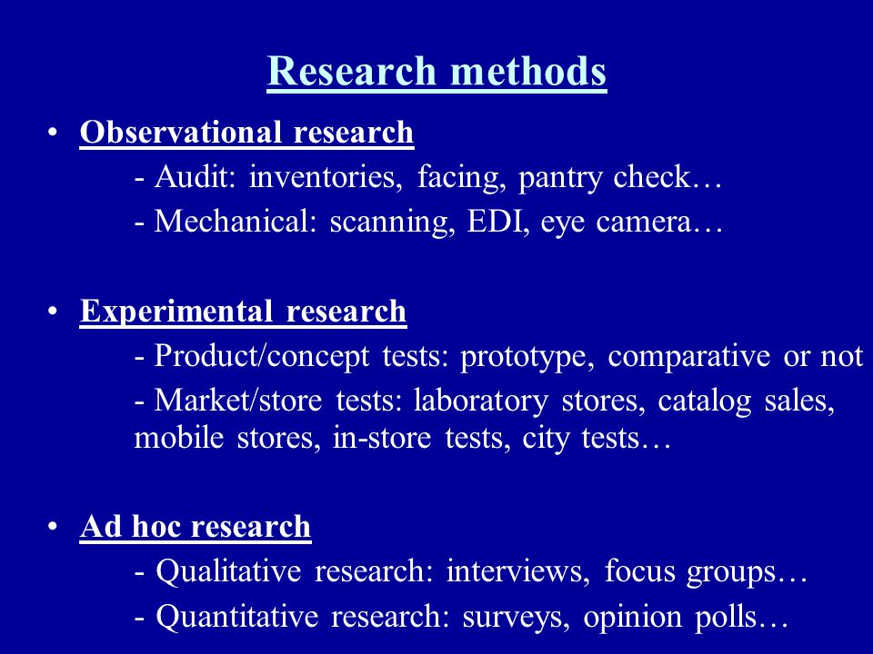 Research methods Observational research