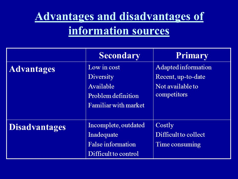 Advantages and disadvantages of information sources