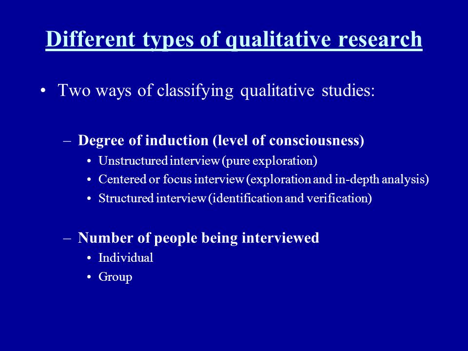Different types of qualitative research
