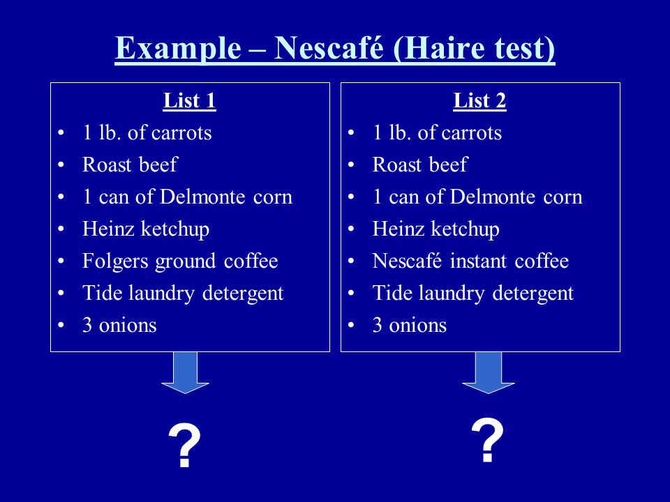 Example – Nescafé (Haire test)
