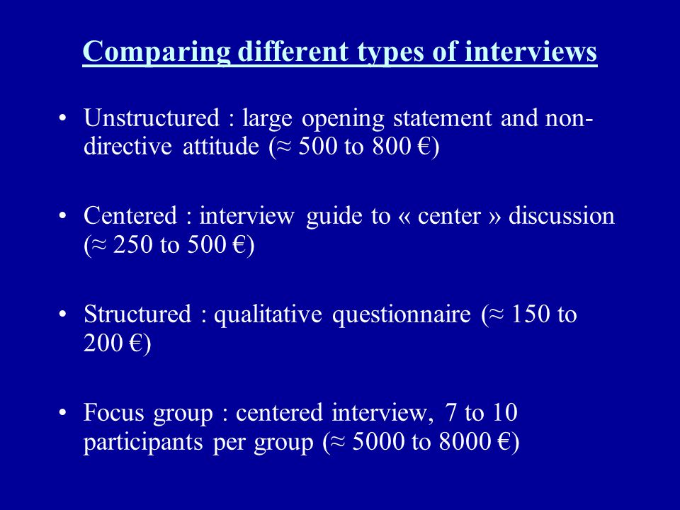 Comparing different types of interviews