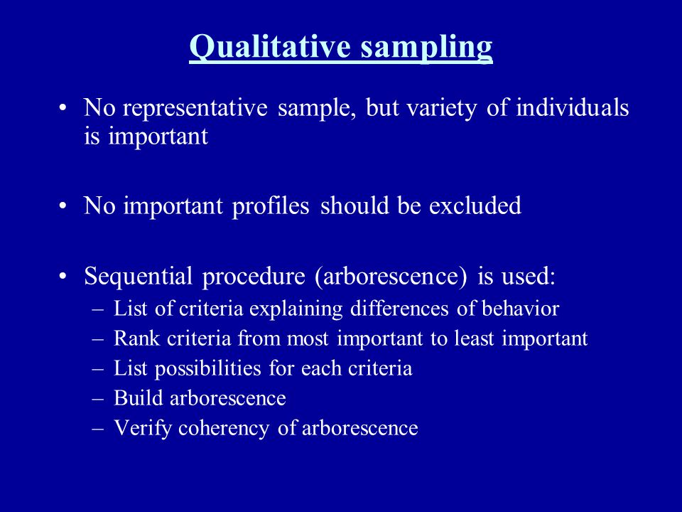 Qualitative sampling No representative sample, but variety of individuals is important. No important profiles should be excluded.