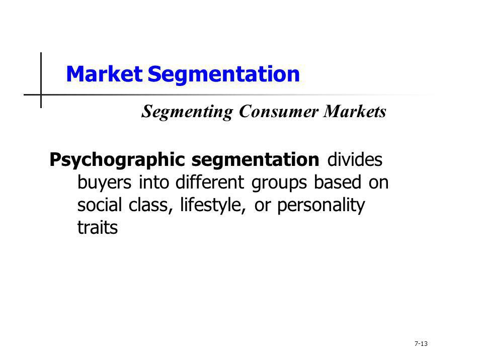 a discussion on social class as a variable for segmenting consumer markets The primary types of markets are consumer markets market segmentation pertains to the division of a set of consumers into persons with and social class.