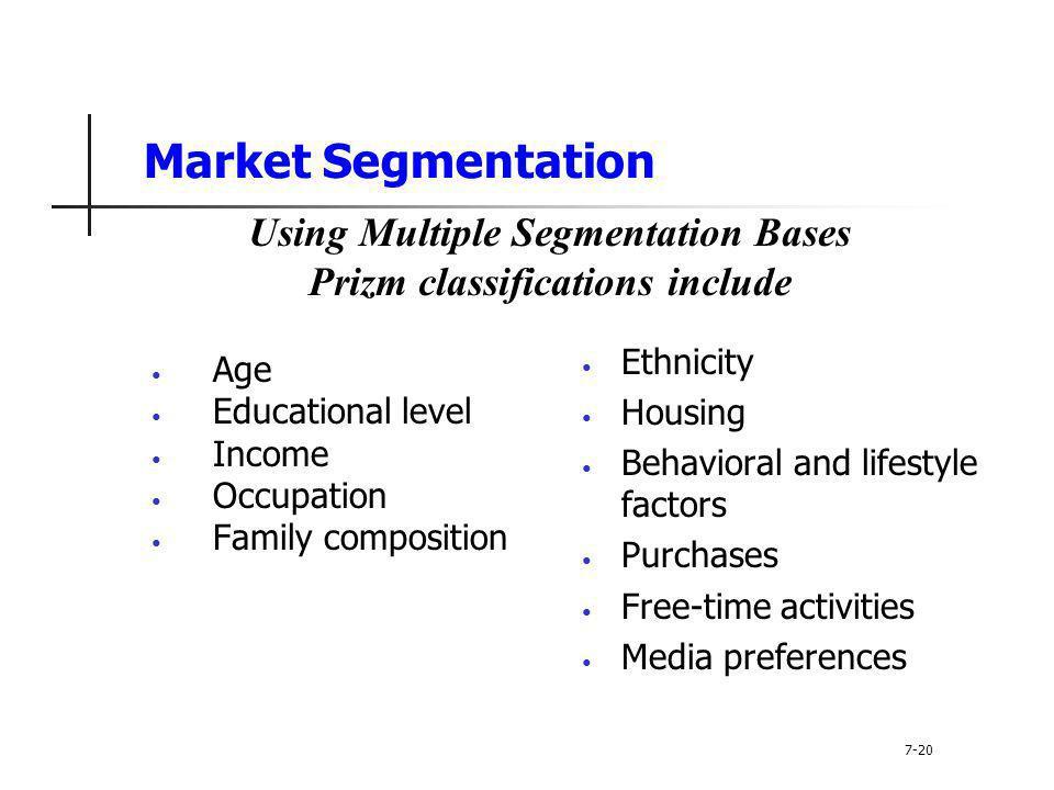 Using Multiple Segmentation Bases Prizm classifications include