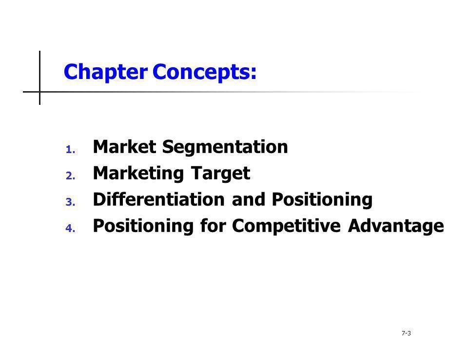 Chapter Concepts: Market Segmentation Marketing Target