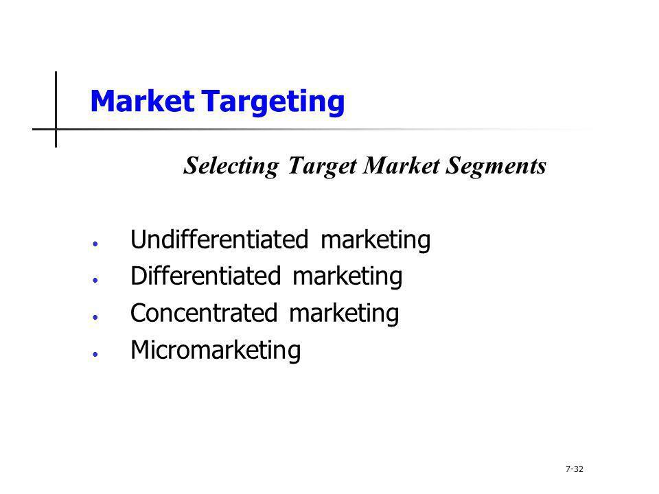 Selecting Target Market Segments