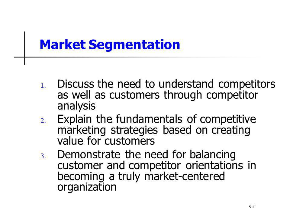 Market Segmentation Discuss the need to understand competitors as well as customers through competitor analysis.