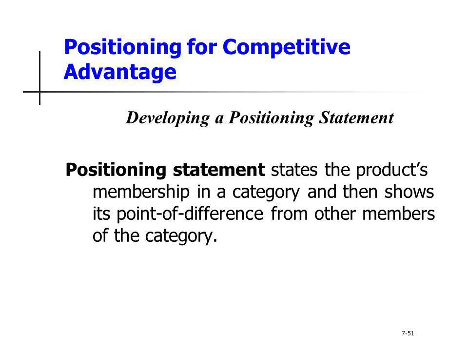 Positioning for Competitive Advantage