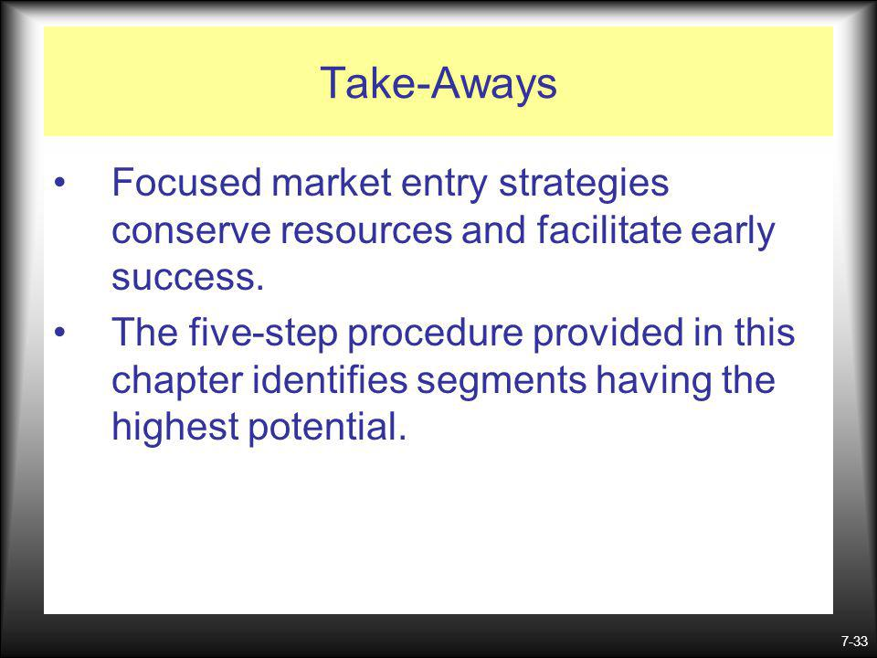 Take-Aways Focused market entry strategies conserve resources and facilitate early success.