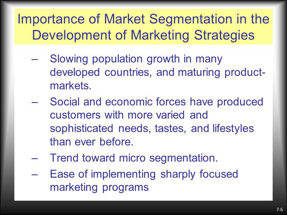 Importance of Market Segmentation in the Development of Marketing Strategies