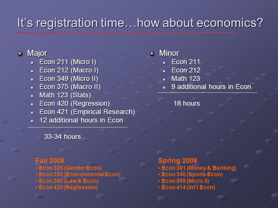 It's registration time…how about economics