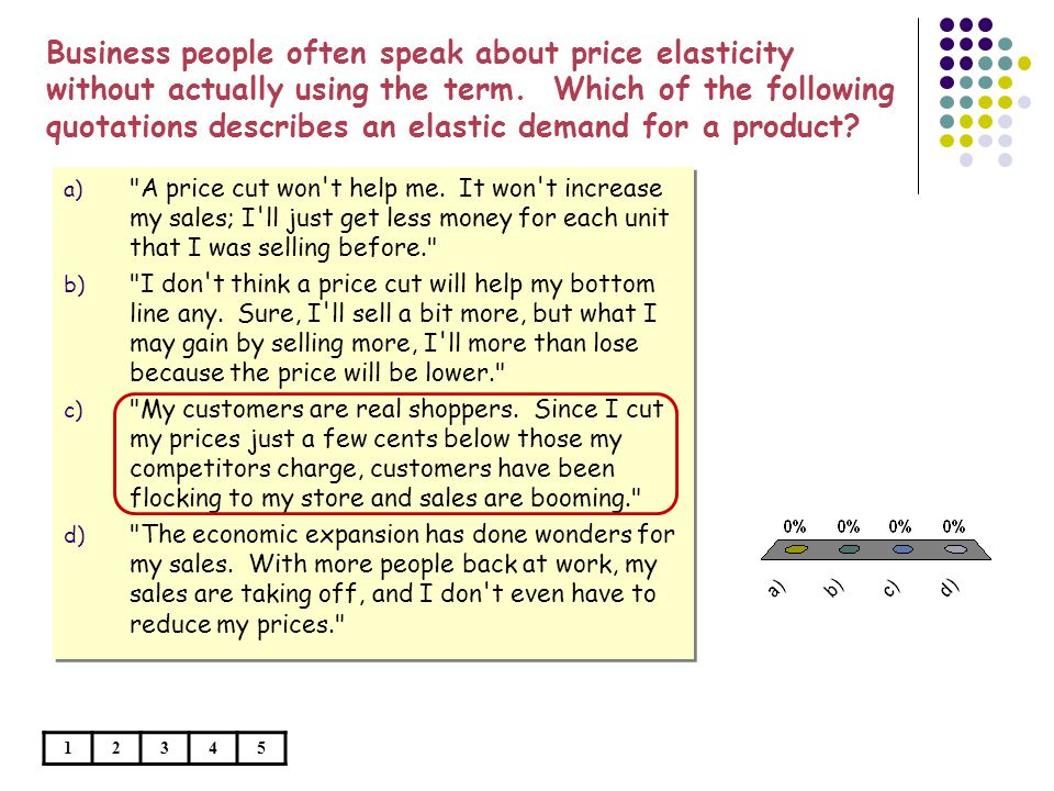 Business people often speak about price elasticity without actually using the term. Which of the following quotations describes an elastic demand for a product