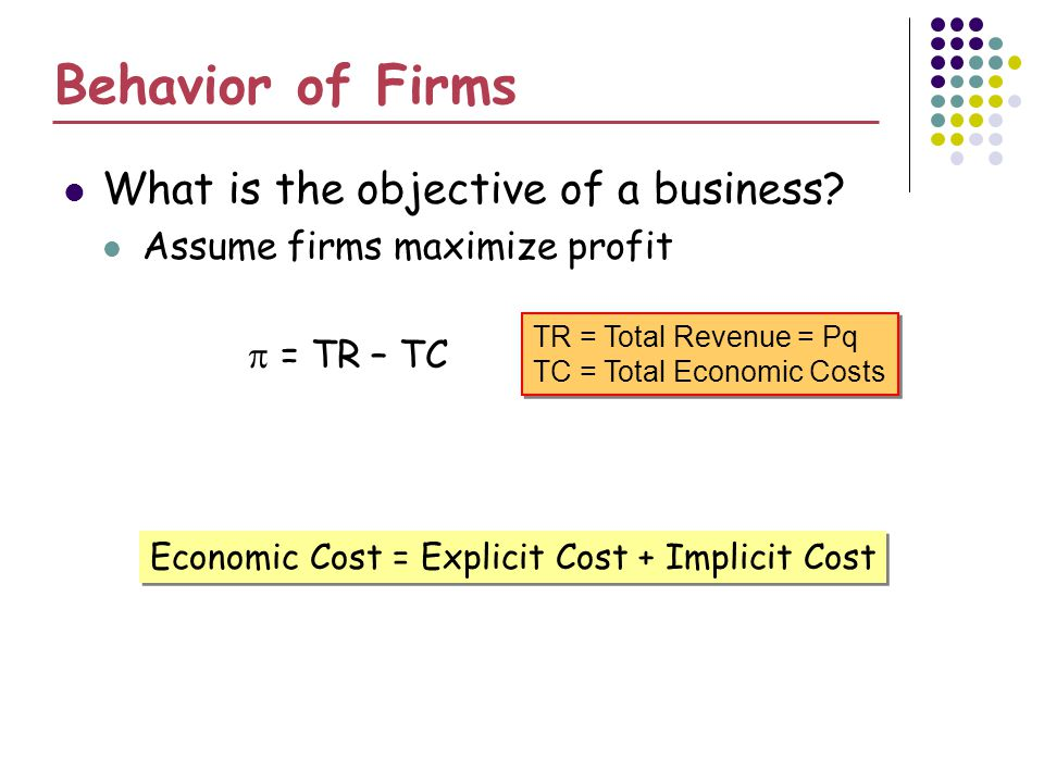 Behavior of Firms What is the objective of a business