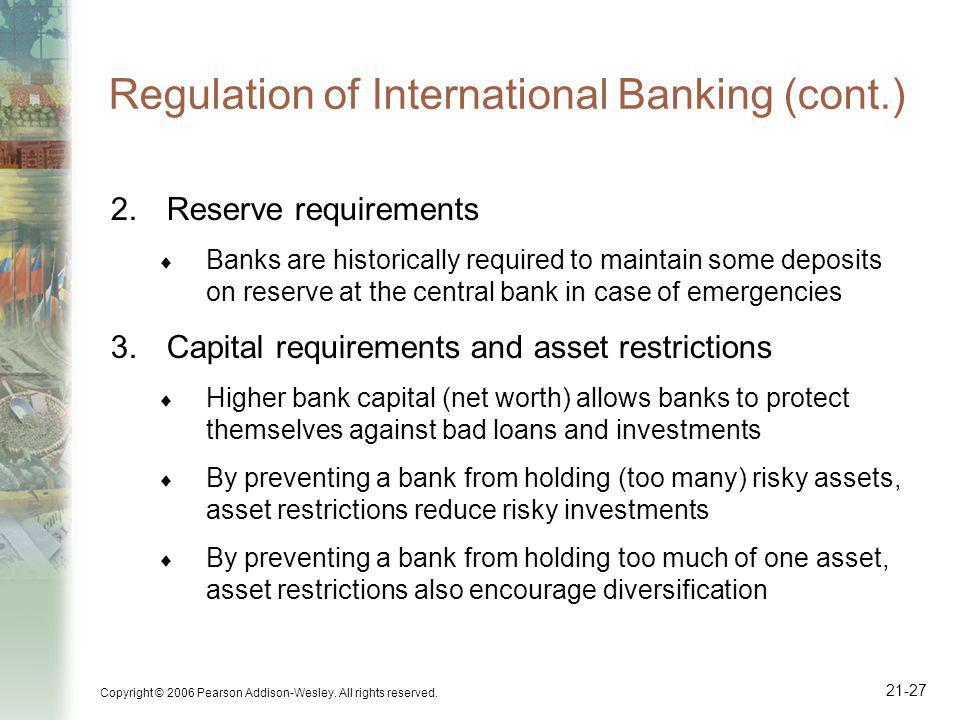 Regulation of International Banking (cont.)
