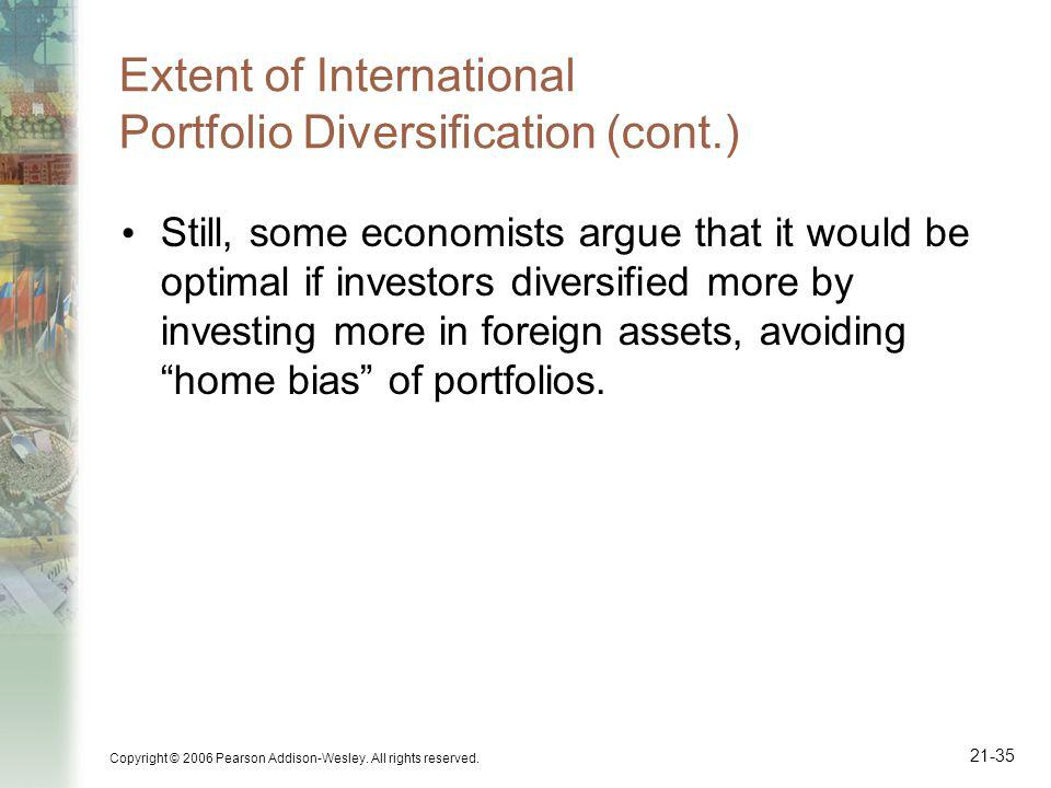 Extent of International Portfolio Diversification (cont.)