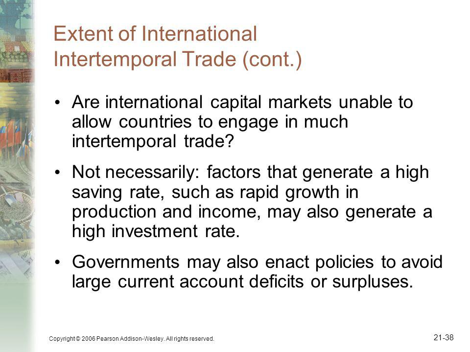 Extent of International Intertemporal Trade (cont.)