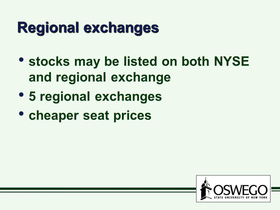 Regional exchanges stocks may be listed on both NYSE and regional exchange.