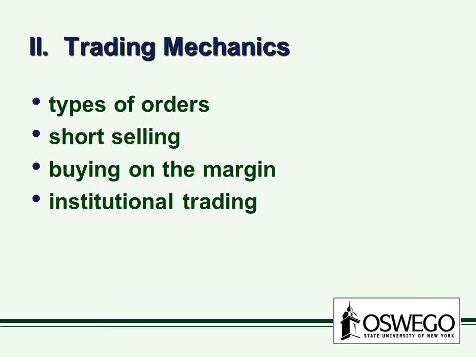 II. Trading Mechanics types of orders short selling