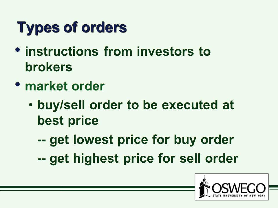 Types of orders instructions from investors to brokers market order