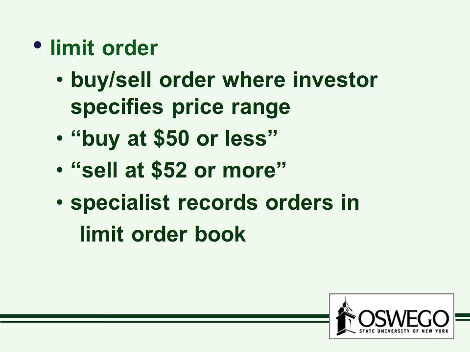 limit order buy/sell order where investor specifies price range. buy at $50 or less sell at $52 or more