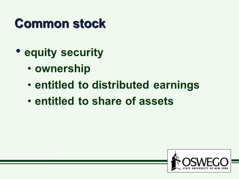 Common stock equity security ownership
