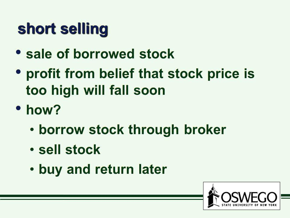 short selling sale of borrowed stock
