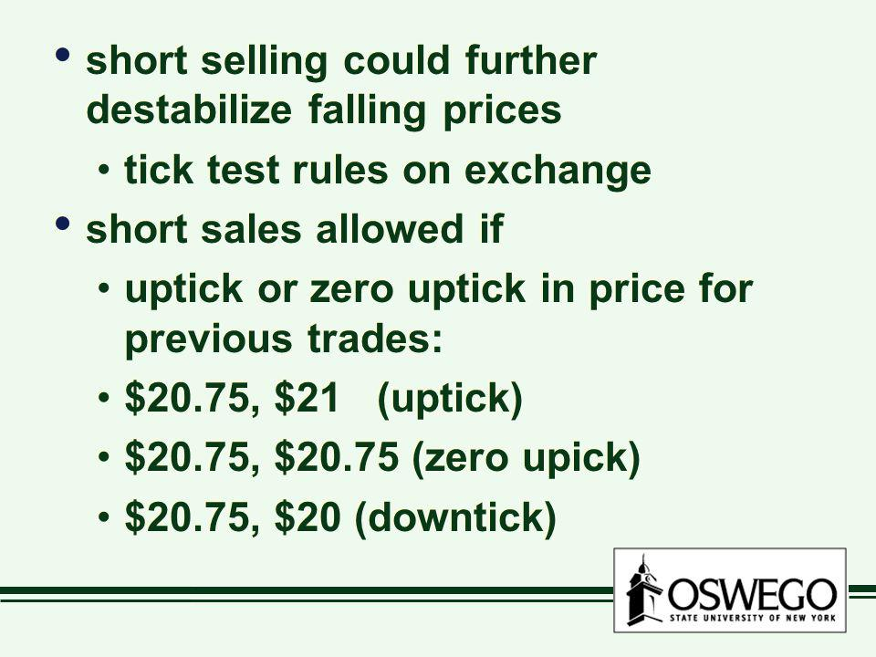 short selling could further destabilize falling prices