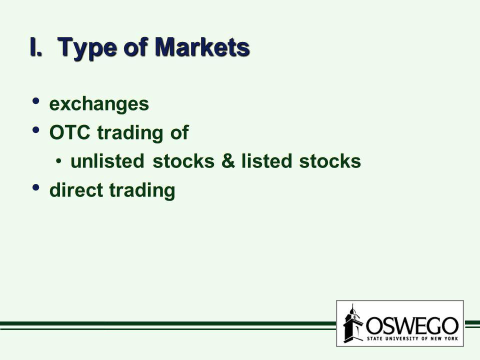 I. Type of Markets exchanges OTC trading of