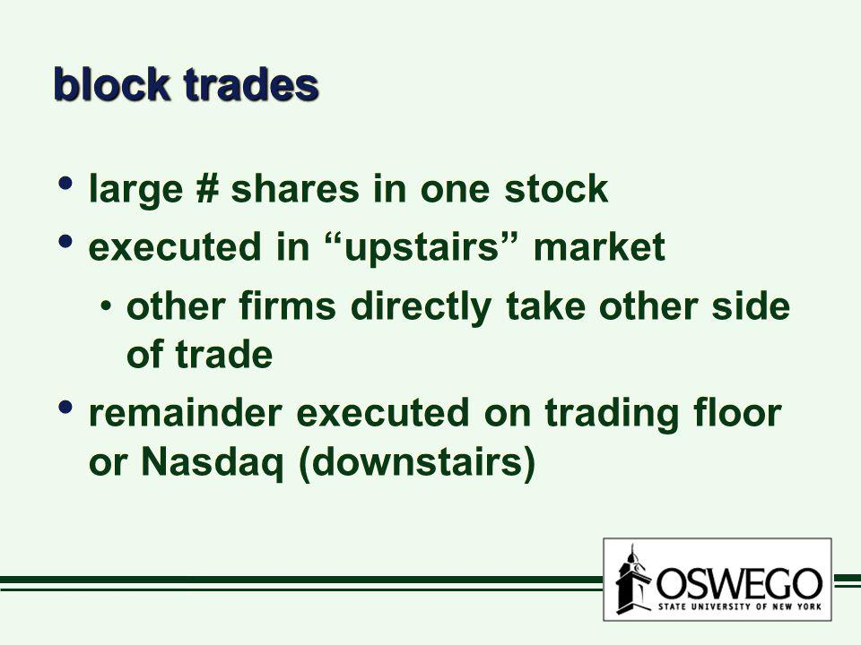 block trades large # shares in one stock executed in upstairs market