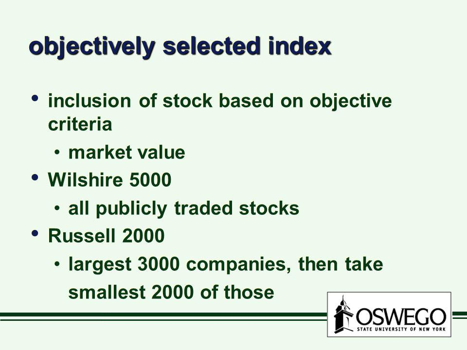 objectively selected index