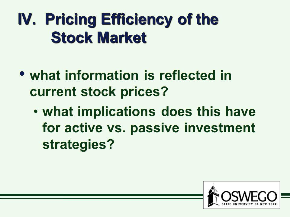 IV. Pricing Efficiency of the Stock Market