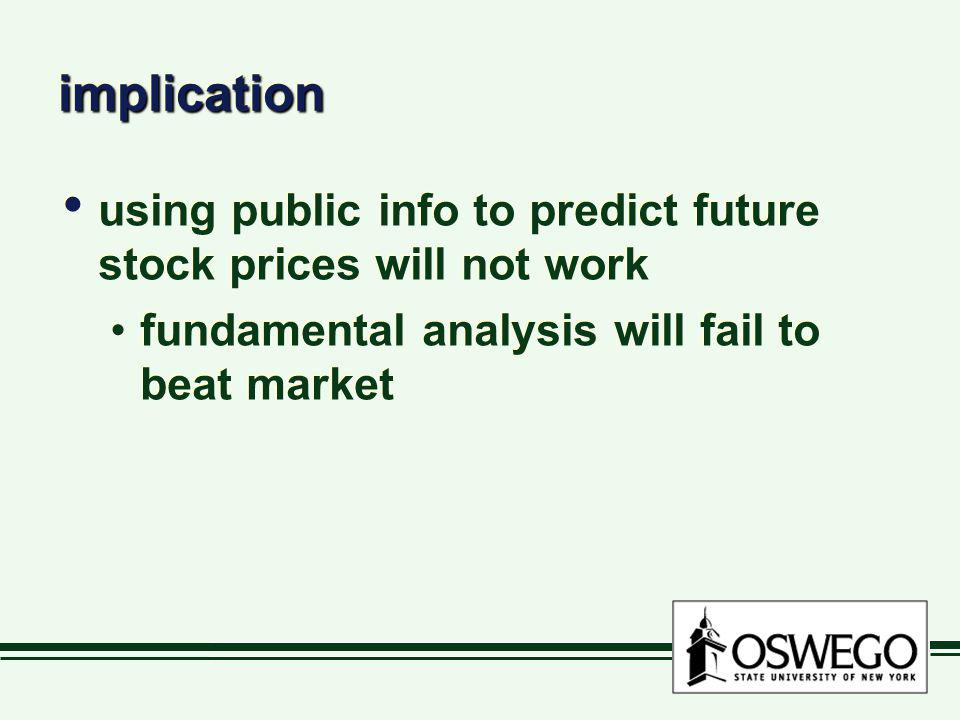 implication using public info to predict future stock prices will not work.