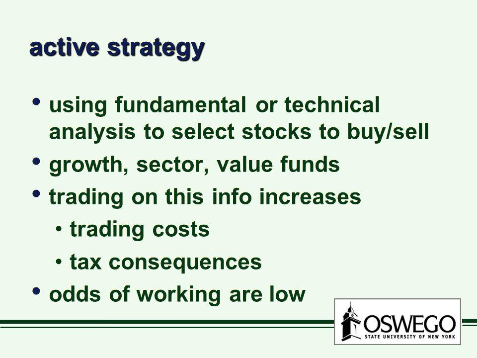 active strategy using fundamental or technical analysis to select stocks to buy/sell. growth, sector, value funds.