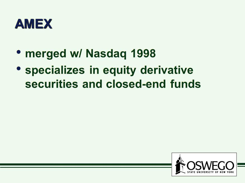 AMEX merged w/ Nasdaq 1998 specializes in equity derivative securities and closed-end funds