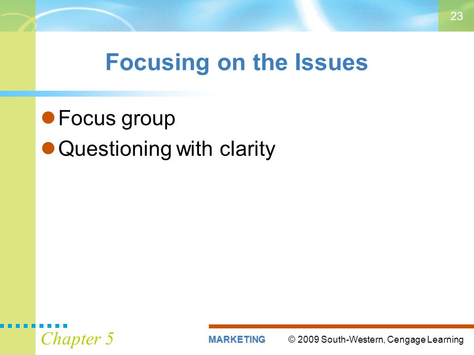 Focusing on the Issues Focus group Questioning with clarity Chapter 5