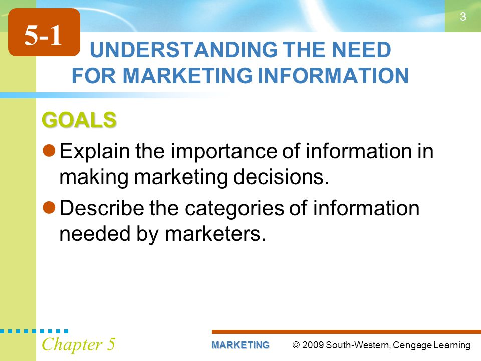 UNDERSTANDING THE NEED FOR MARKETING INFORMATION