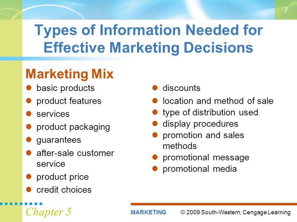 Types of Information Needed for Effective Marketing Decisions