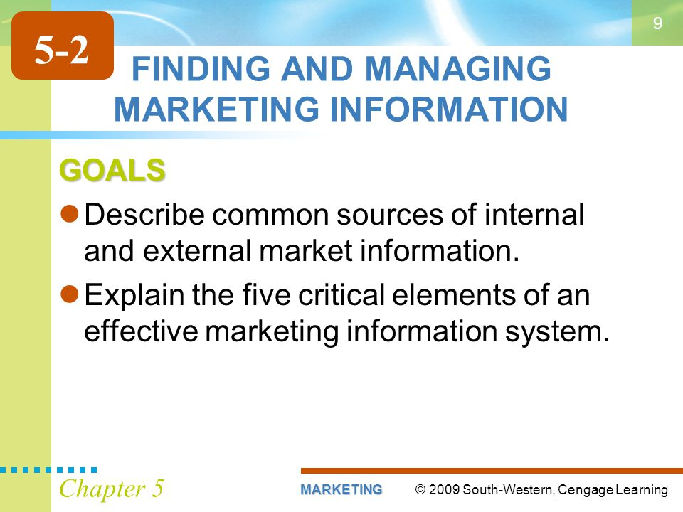 FINDING AND MANAGING MARKETING INFORMATION