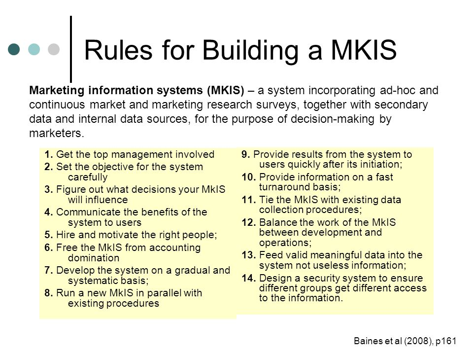 Rules for Building a MKIS