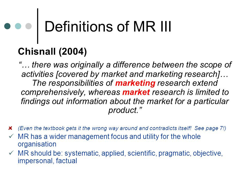Definitions of MR III Chisnall (2004)