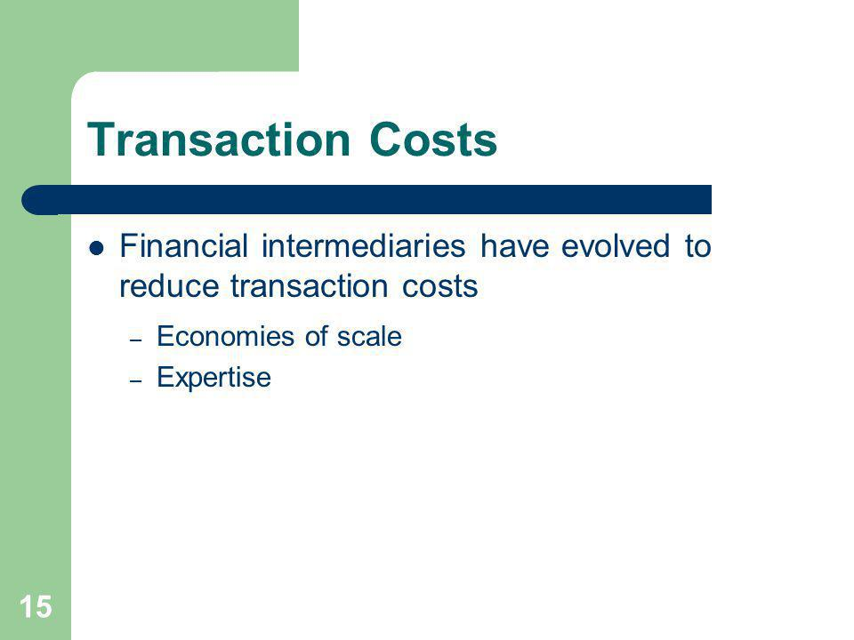 Transaction Costs Financial intermediaries have evolved to reduce transaction costs. Economies of scale.