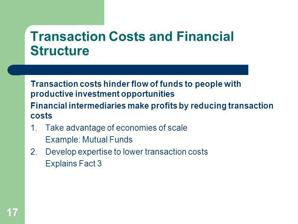 Transaction Costs and Financial Structure