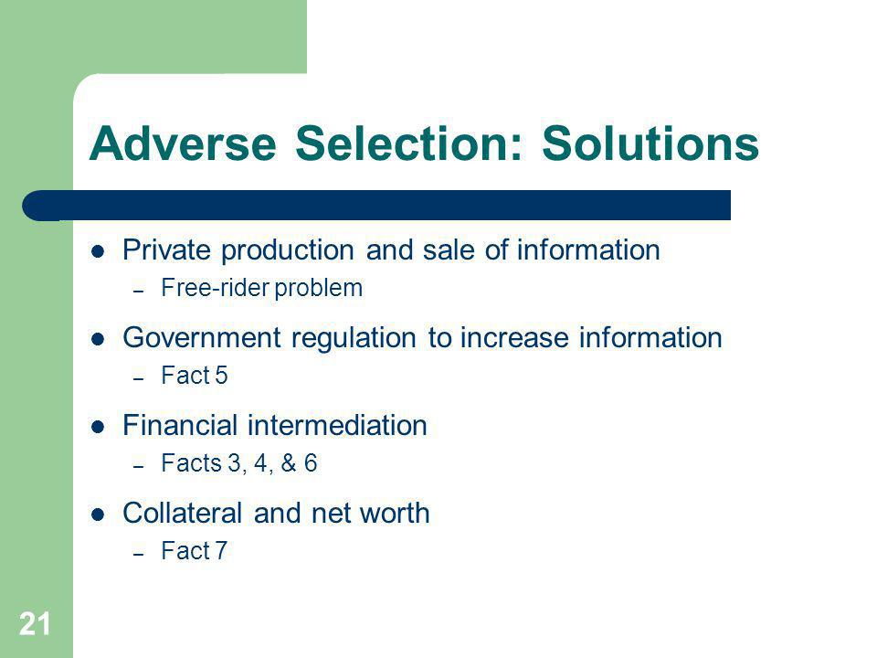 Adverse Selection: Solutions
