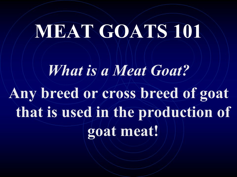 MEAT GOATS 101 What is a Meat Goat