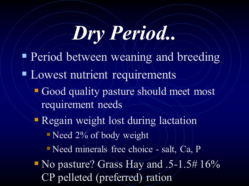 Dry Period.. Period between weaning and breeding