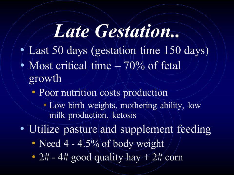 Late Gestation.. Last 50 days (gestation time 150 days)