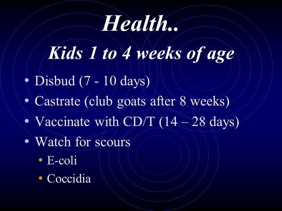Health.. Kids 1 to 4 weeks of age