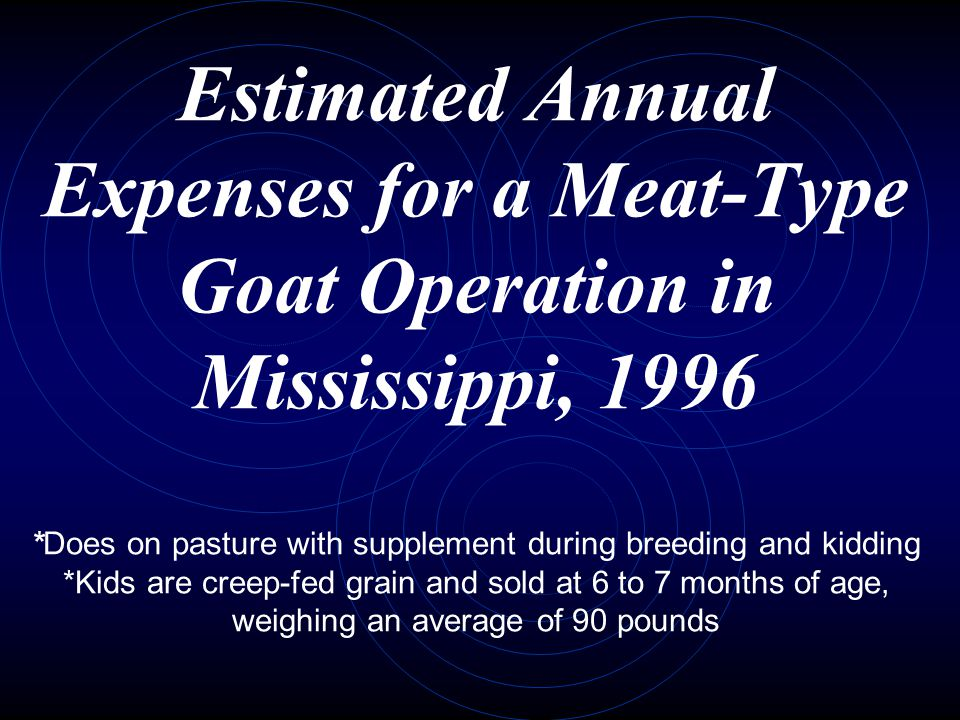 Estimated Annual Expenses for a Meat-Type Goat Operation in Mississippi, 1996 *Does on pasture with supplement during breeding and kidding *Kids are creep-fed grain and sold at 6 to 7 months of age, weighing an average of 90 pounds
