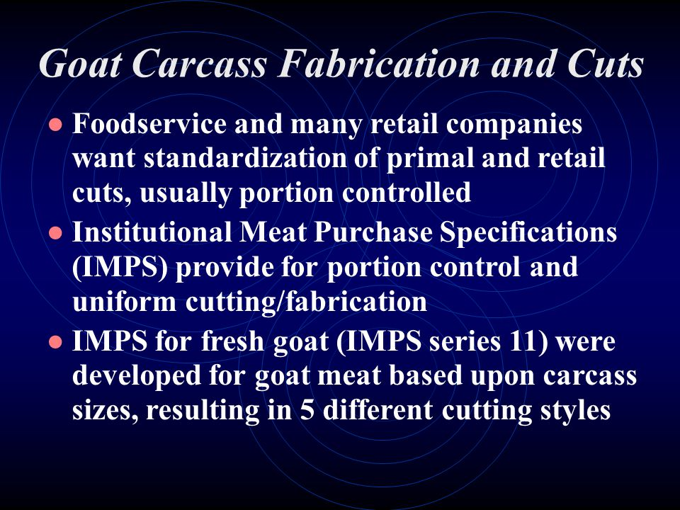Goat Carcass Fabrication and Cuts