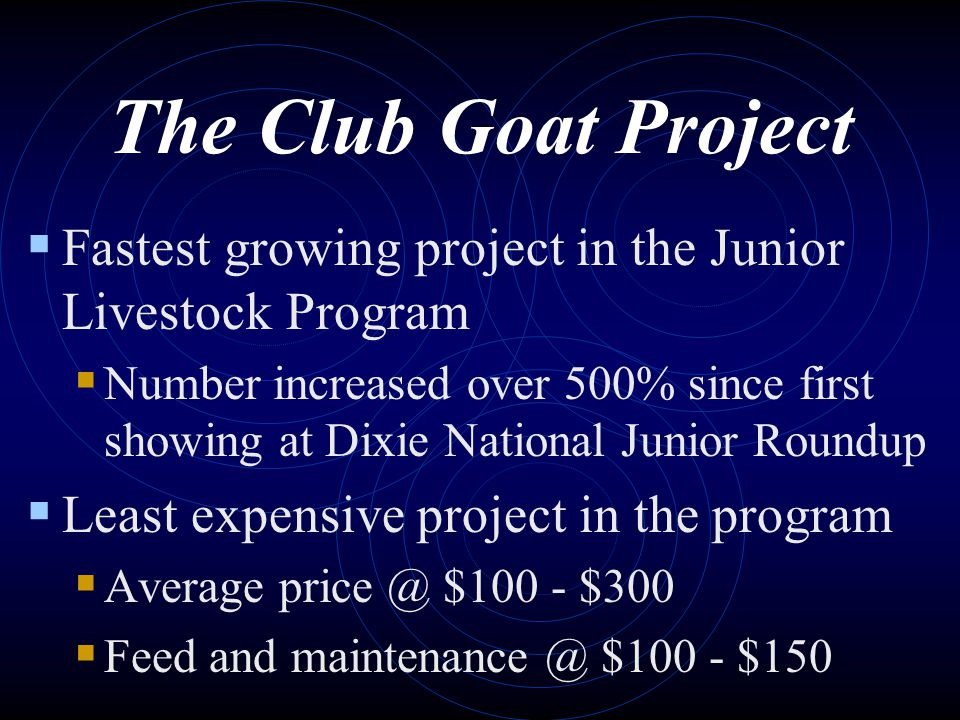 The Club Goat Project Fastest growing project in the Junior Livestock Program.
